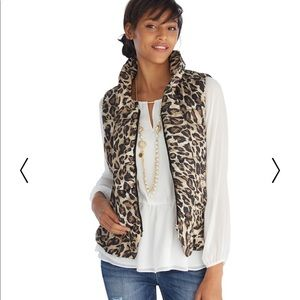 White House Black Market Leopard Print Puffy Vest